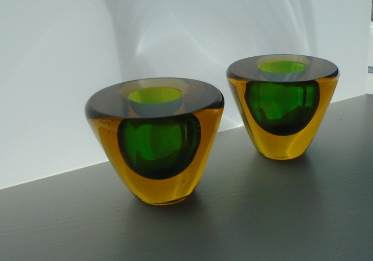 Vintage Murano Sommerso Green and Amber Glass Candle Holders.