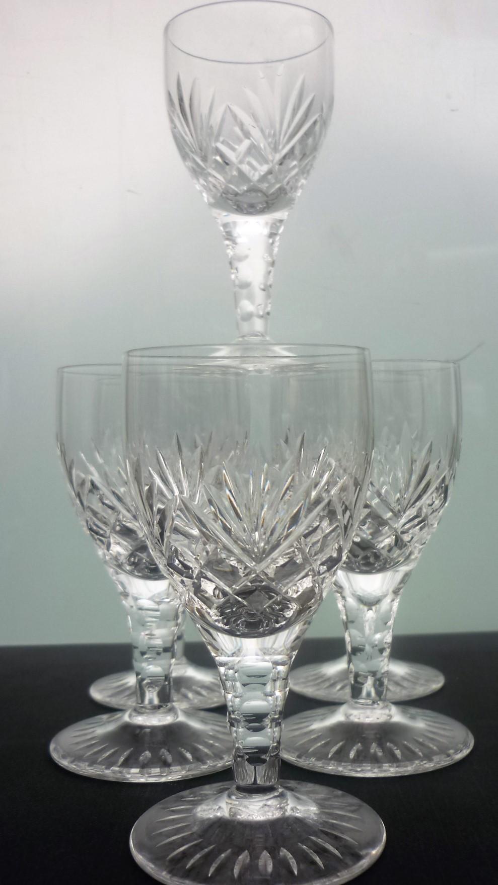 4 Ludlow Pattern Stuart Crystal Sherry glasses.