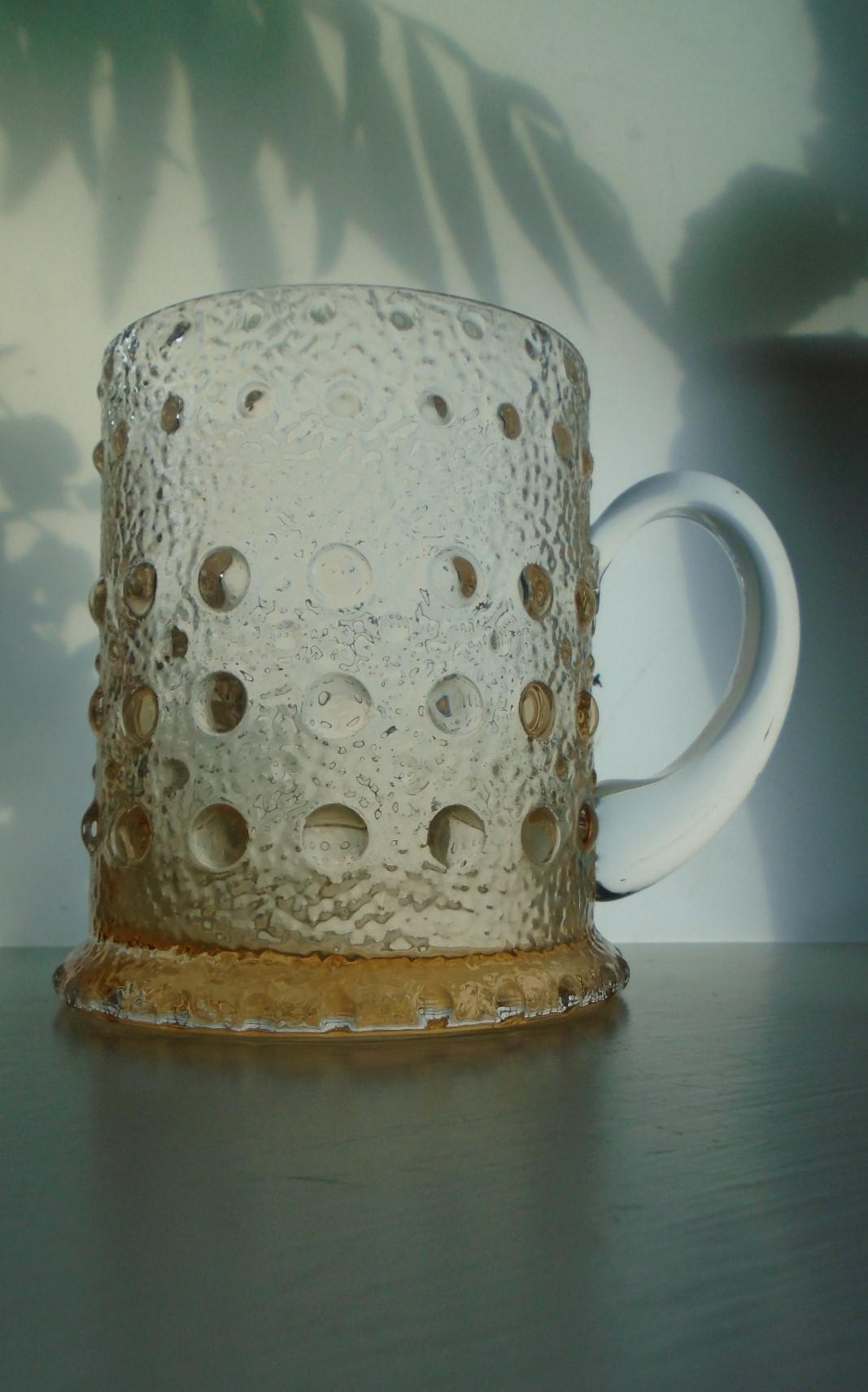 Rare 70s Vintage Textured Wedgwood Glass Tankard In Topaz By Ronald Stennett-Willson