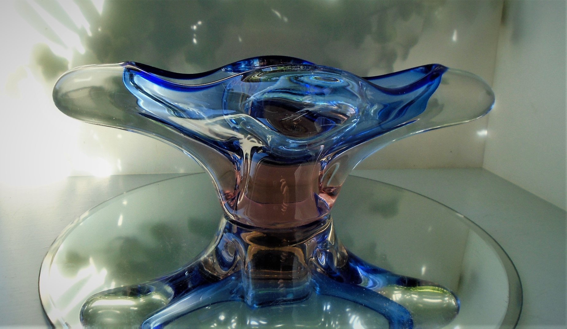 Stunning Vintage Czech Glass organic shaped bowl from maker Chribska designed by Joseph Hospodska.