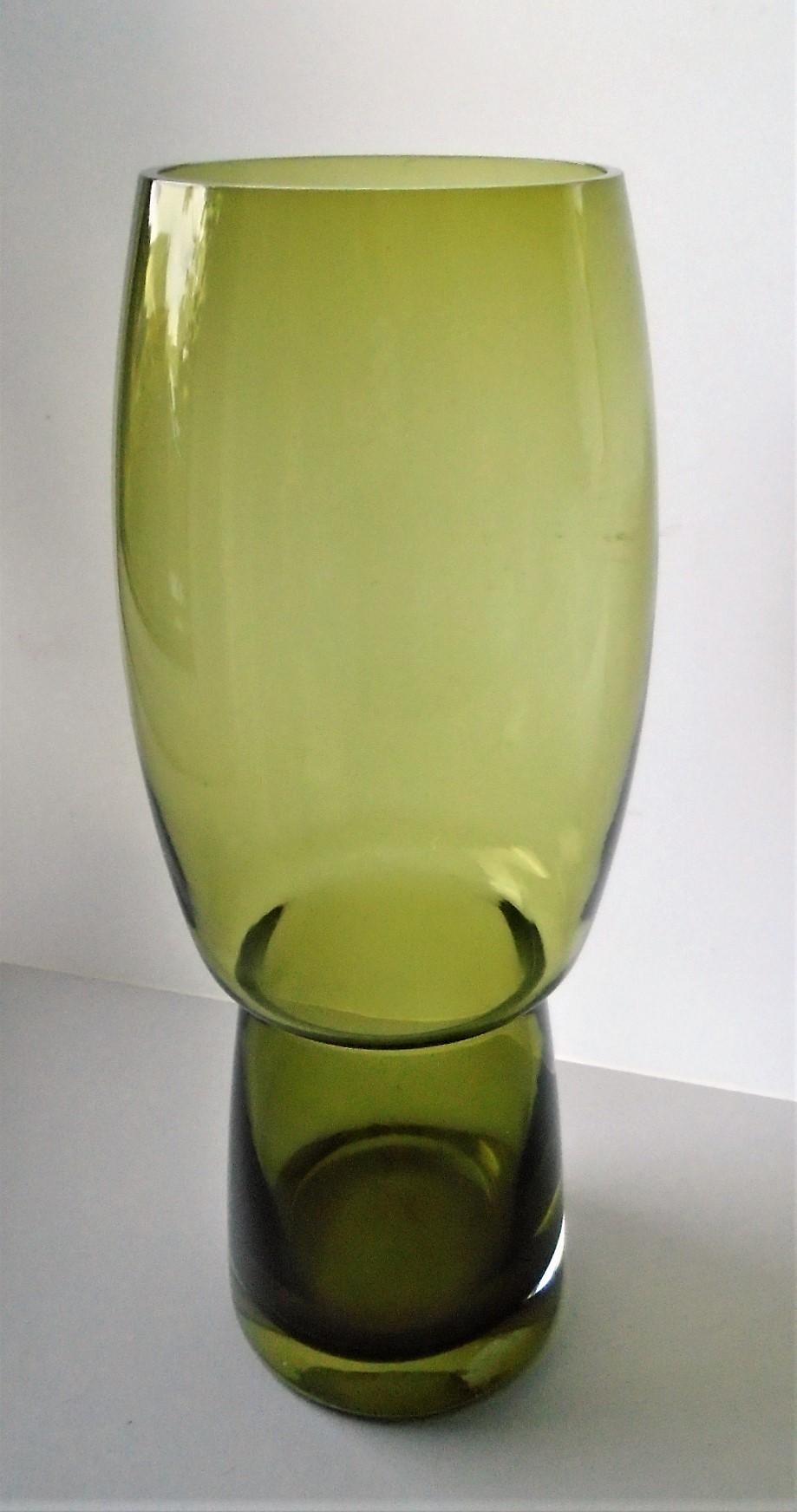 Large super retro shaped Scandinavian Riihimaki Forest Glass Vase.