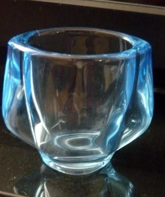 Sky Blue Czech pressed glass vase made by Heřmanova Hut