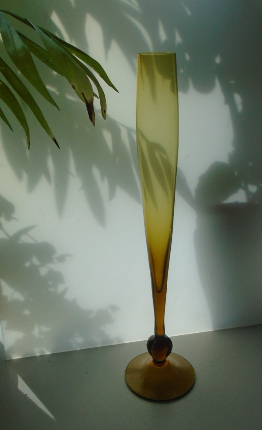 60s Vintage Swedish Alsterfors Glass Bud Vase. It stands approx. 30cms in height and is in an olive coloured glass.