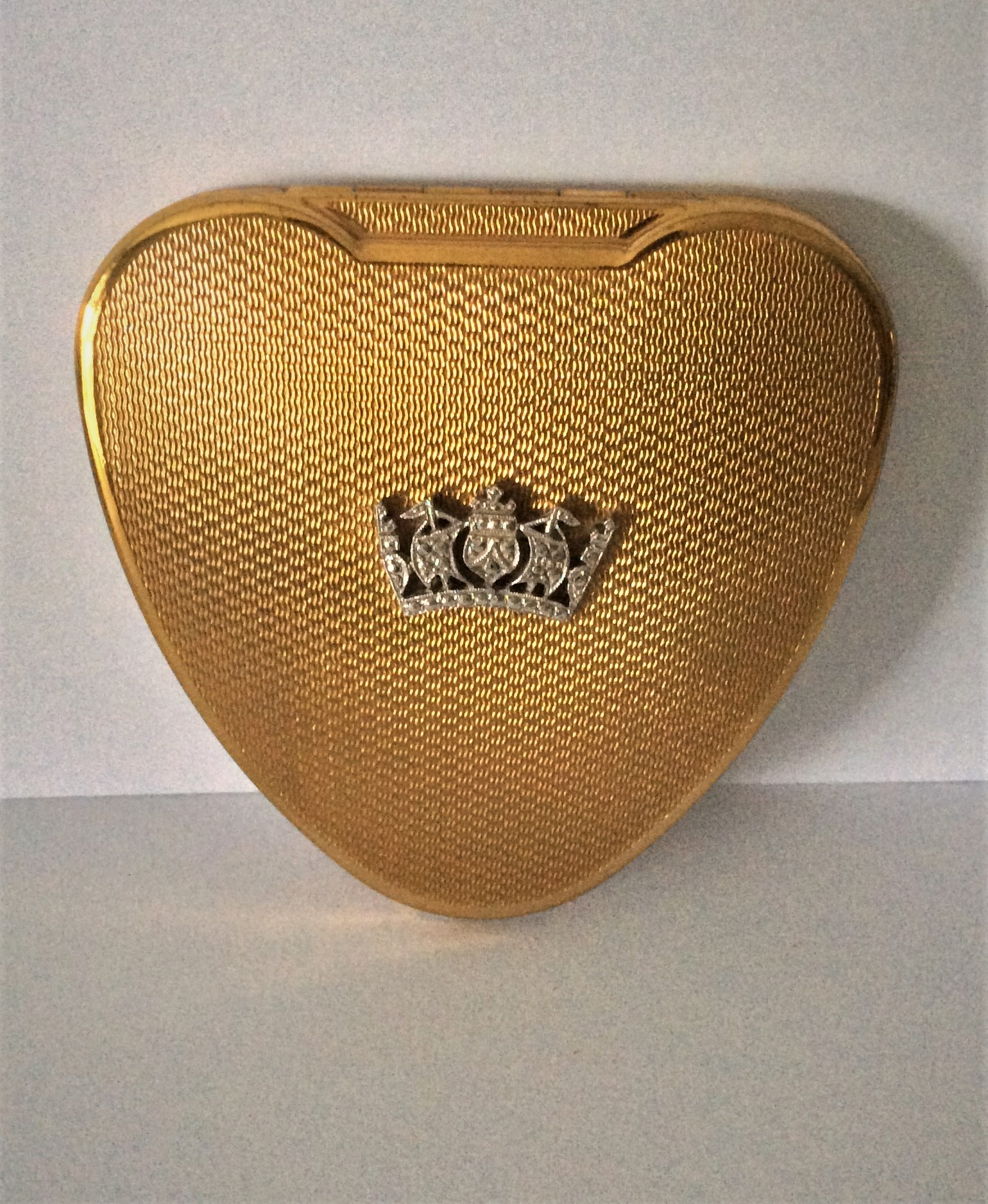 "50s KIGU ""Cherie"" Heart Shaped Gold Tone and Marcasite Powder Compact"