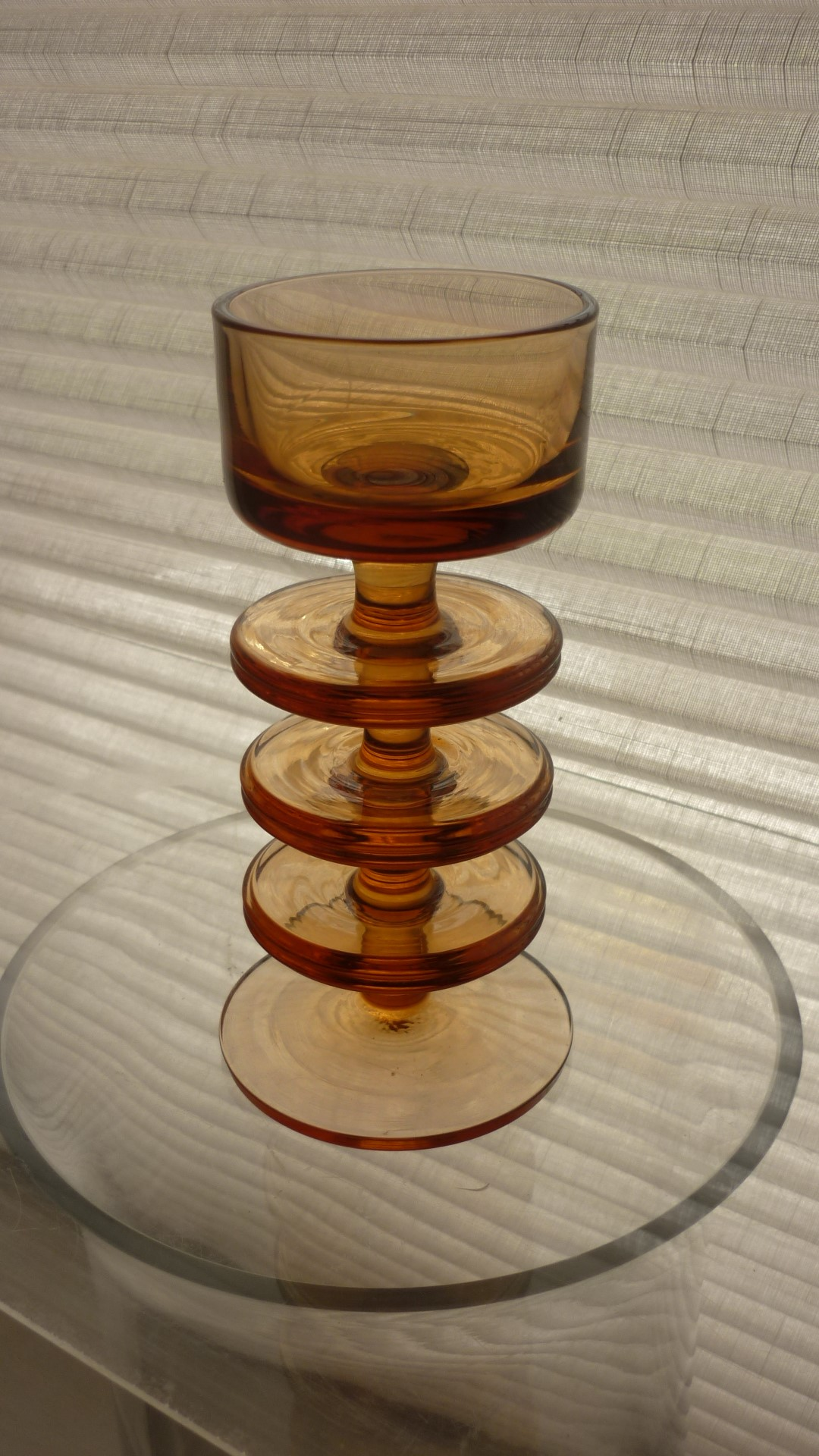 Topaz Ronald Stennet-Willson three ring Sherringham Pattern RSW13 glass candle holder.