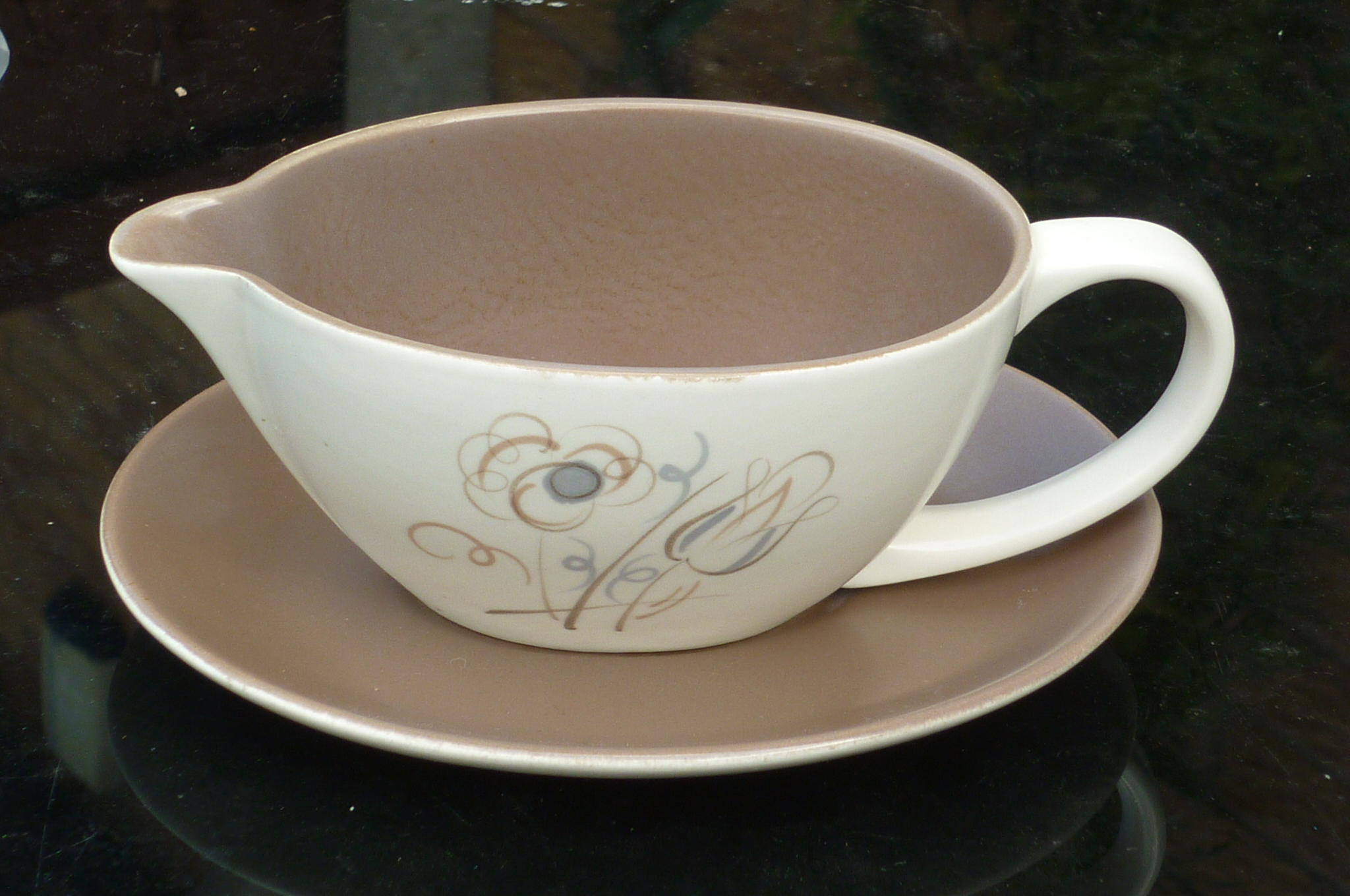 "A vintage 1950s Poole ""Trudiana"" Sauce Boat and Saucer."
