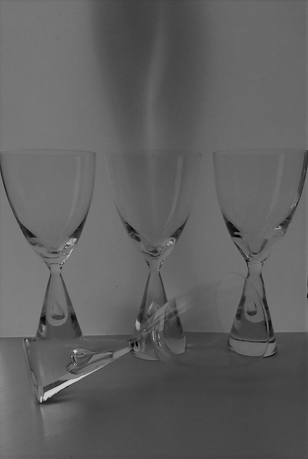 "Set of 4 Iconic HOLMEGAARD Danish ""PRINCESS"" RED WINE Glasses (16.7cm height)"