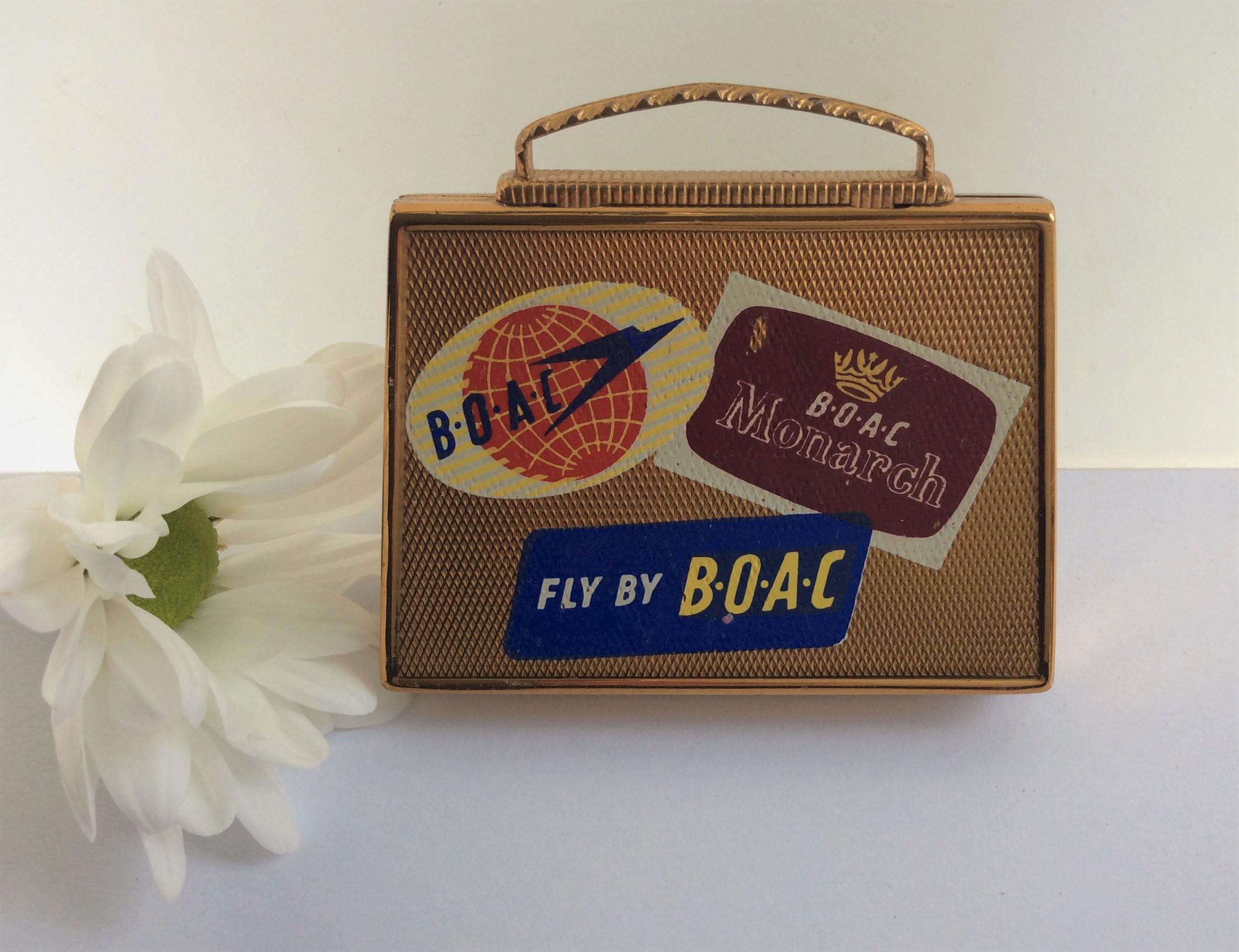 Vintage 50s ASB Mascot BOAC Suitcase Powder Compact