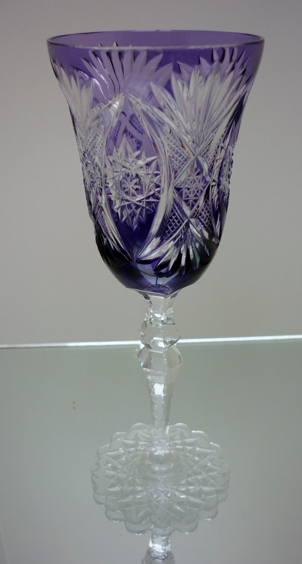 Bohemia purple cut to clear crystal wine glass