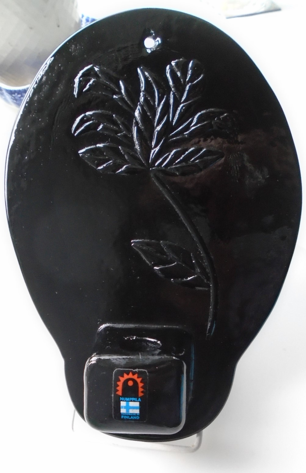 Unusual Vintage Humppila Finland Hanging Art Glass Candle Holder.