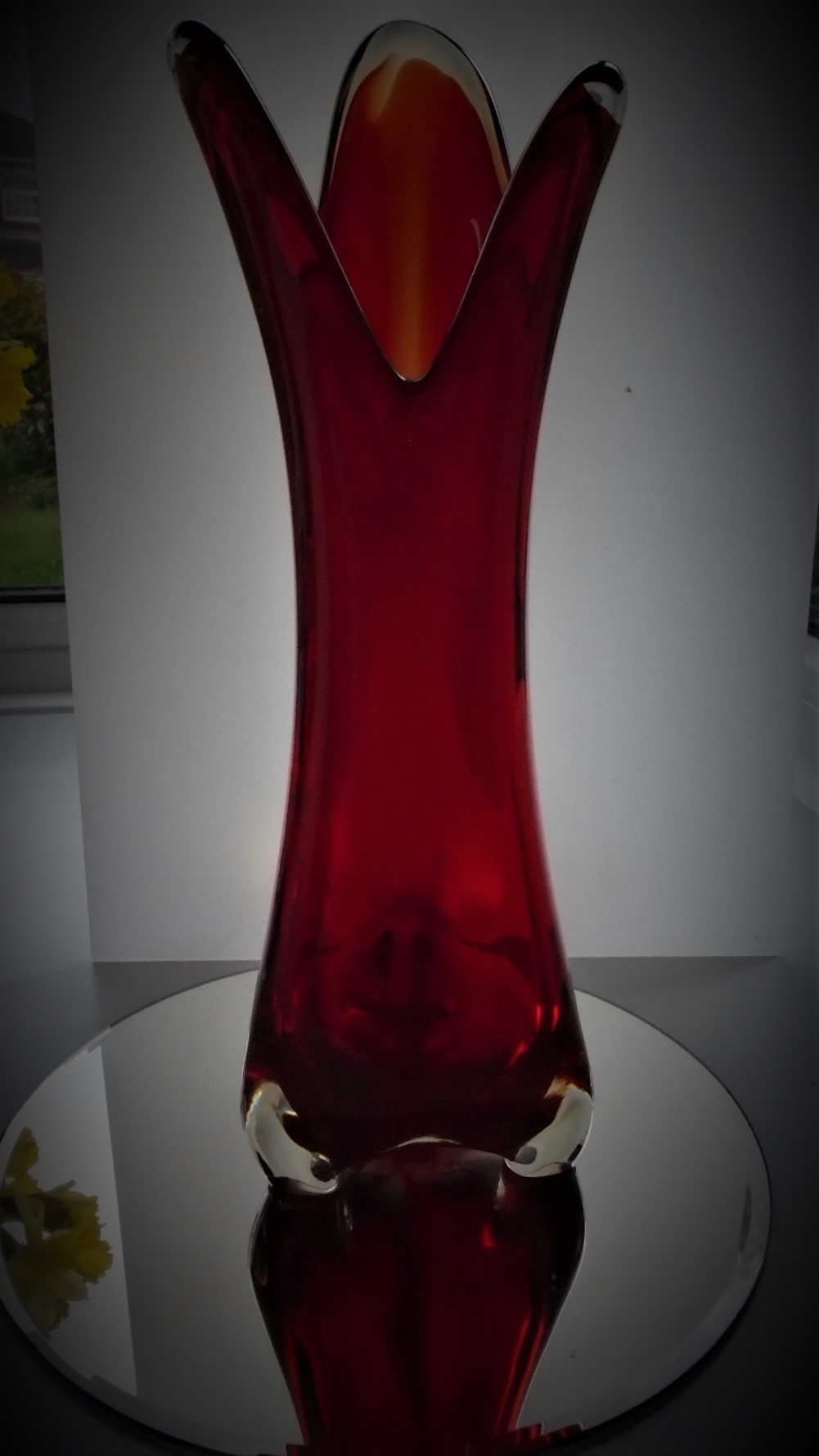 A Fine example of a large and heavy Vintage Murano Clear Cased Red/Orange Pulled Finger Rim Art Glass vase.