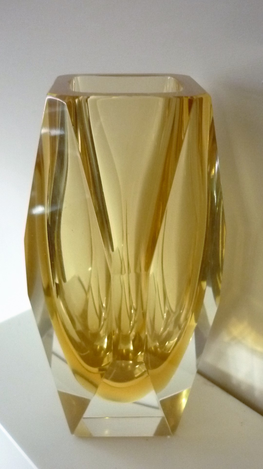 Light Amber Murano Mandruzzato glass vase.