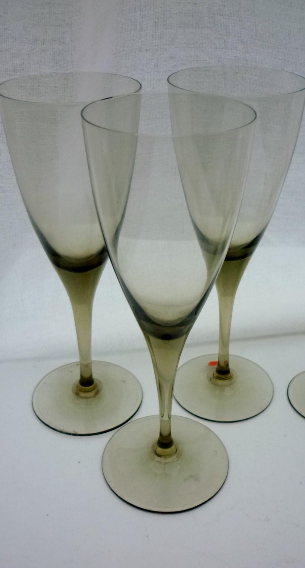"3no.mid 20th Century Scandinavian style smokey ""sherry"" glasses."