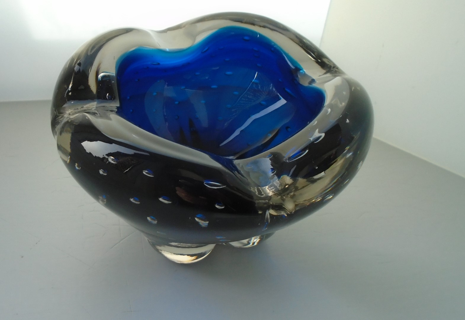 Vintage 60s Whitefriars Glass Royal Blue MOLAR Bowl by Geoffrey Baxter Pattern No.9409
