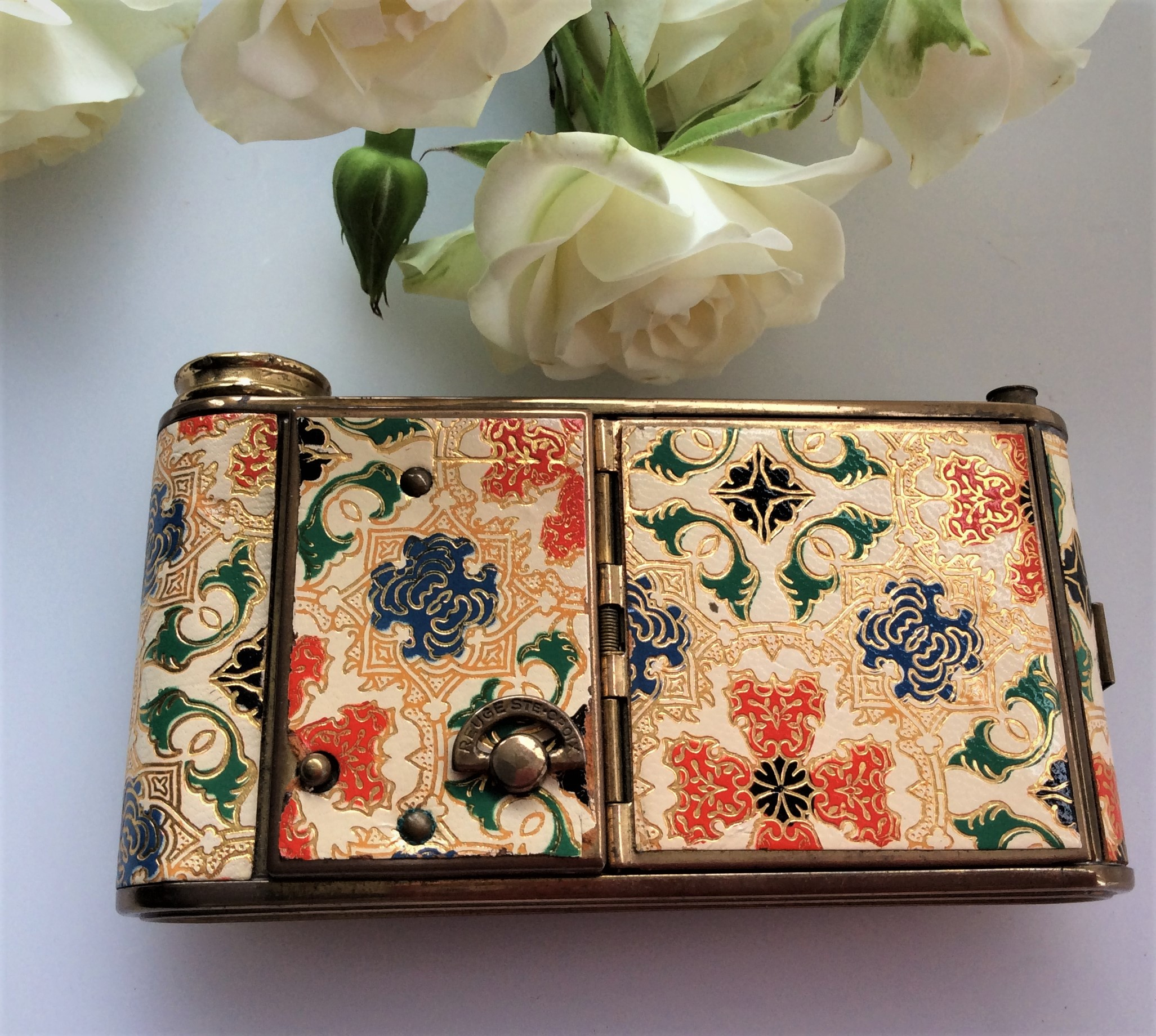 Rare Vintage 30s Musical Camera Style Brass and Tooled Leather Combination Vanity Compact with original box.