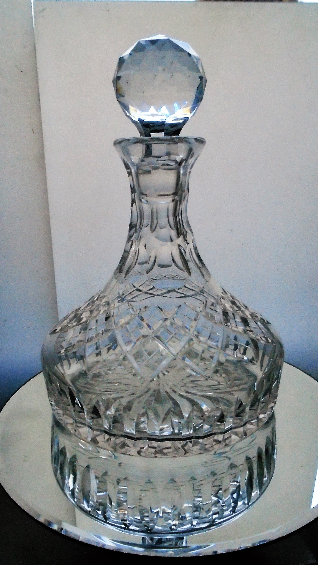 Superb 60s vintage clear cut glass crystal ships decanter.