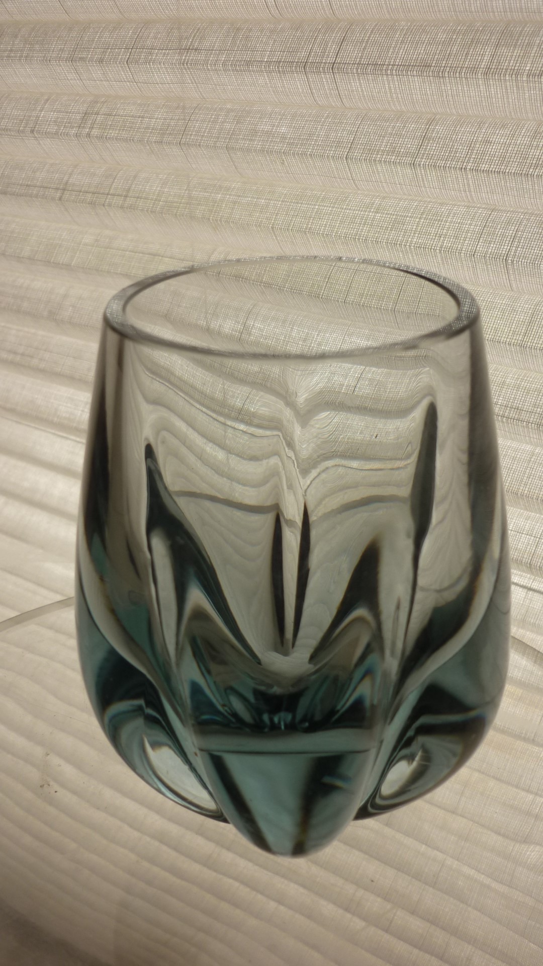 1960s Vintage Whitefriars Pattern 9392 Geoffrey Baxter Lobed Glass Vase in  Arctic  Blue