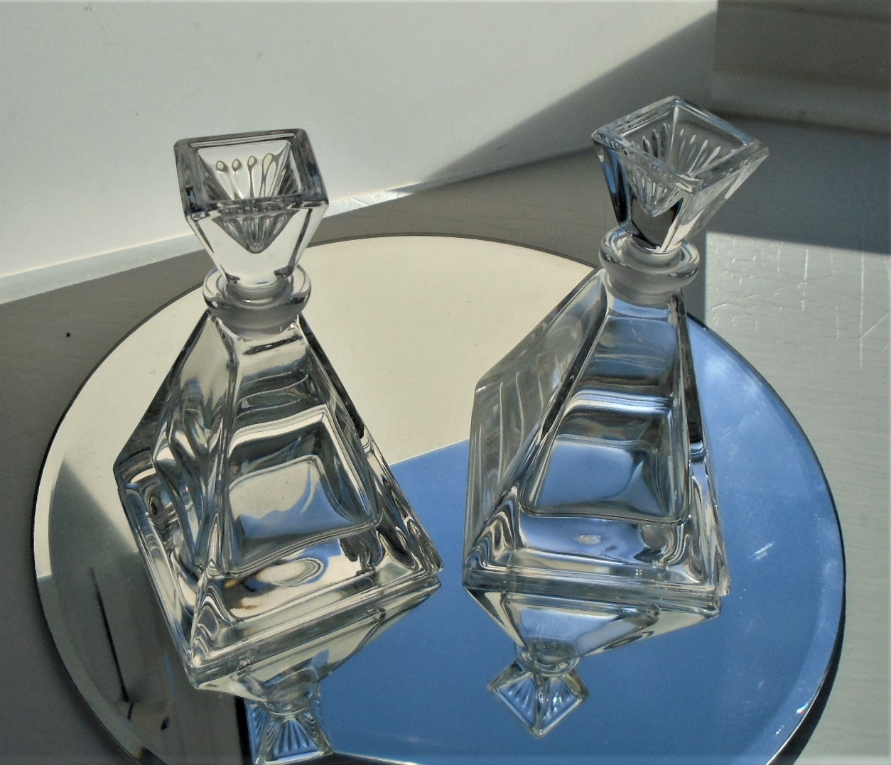 Pair of super quality Italian RCR Crystal (Christallo Al Piombo 24%) Perfume Bottles.