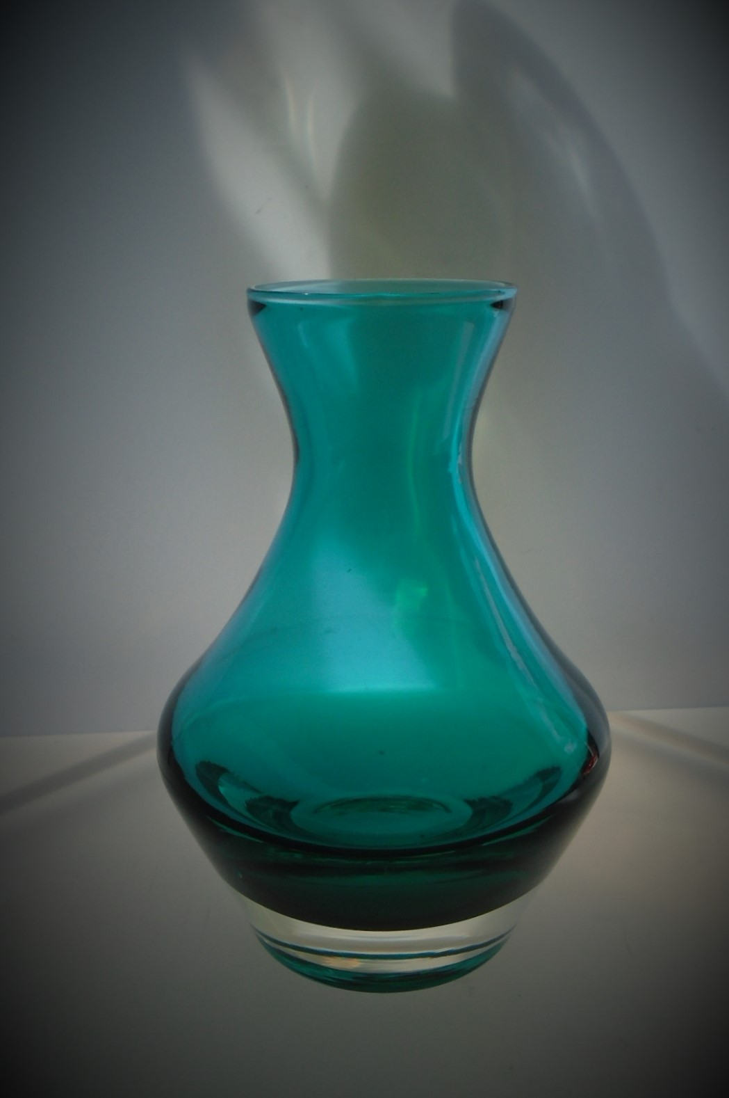 Super example of a small vintage Riihimaki glass vase in Turquoise