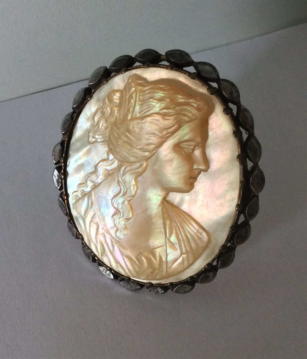 Stunning Quality Antique Large Victorian Mother of Pearl Carved Cameo Brooch. Mounted on gold tone metal with a cut steel frame. Size: 5cm x 4.5cm