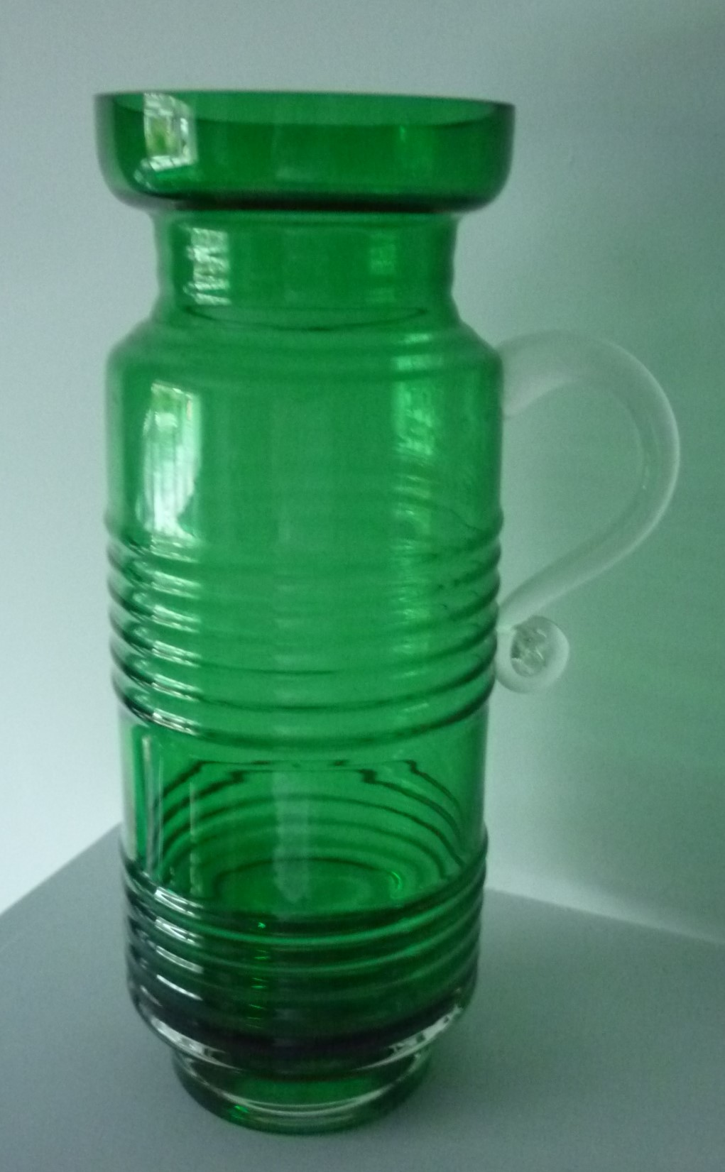 green and clear cased glass Jug designed by Tamara Aladin for Riihimaki of Finland in the 1970's.