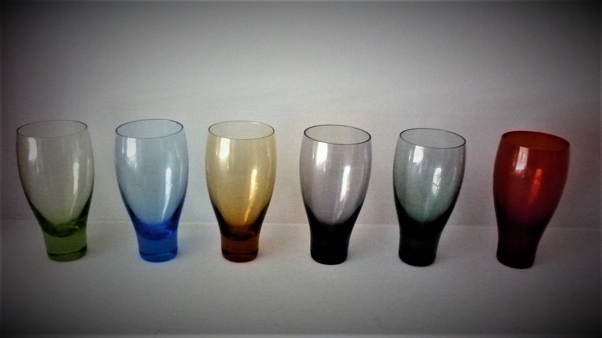 Set of six vintage c1961.Harlequin shot glasses designed for Lemington Glass by Ronald Stennett-Willson