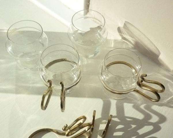 A set of 4 Orrefors Hot /Cold Mocca Sherry Cups designed by Lindau & Lindekrantz