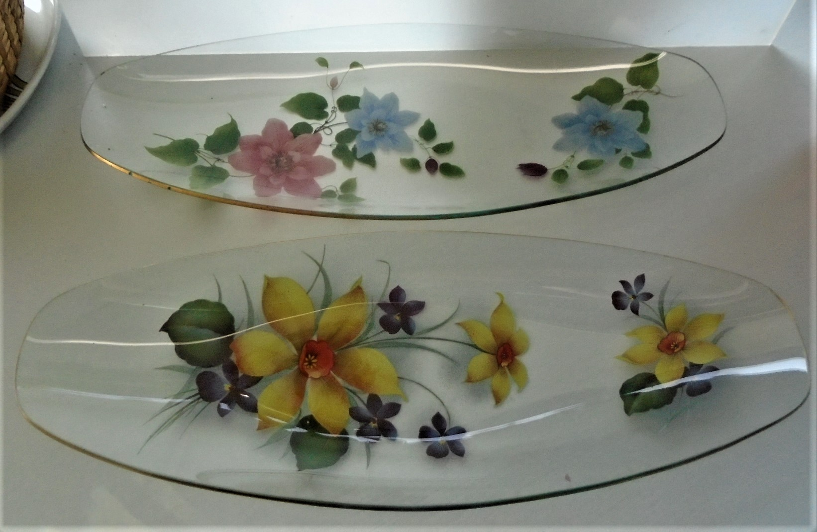 Pair of early 1970s elliptical dishes from English glass maker Chance.