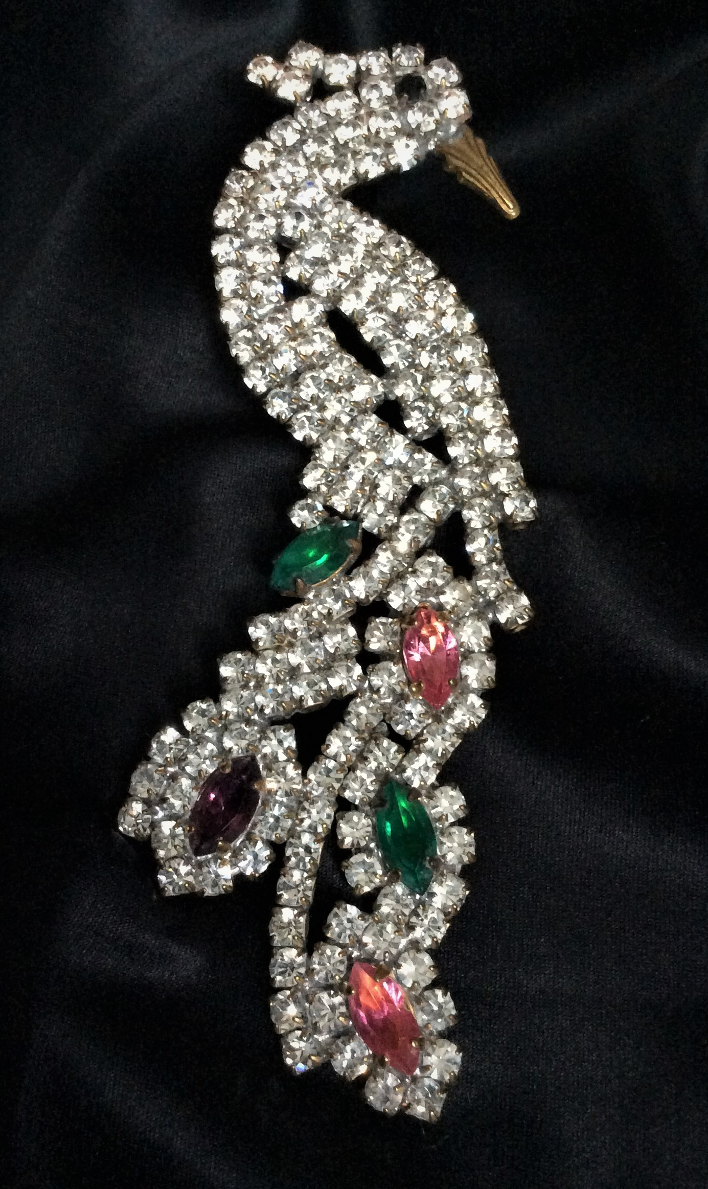Magnificent Glamourous  Art Deco Czech Crystal Peacock Brooch Pin