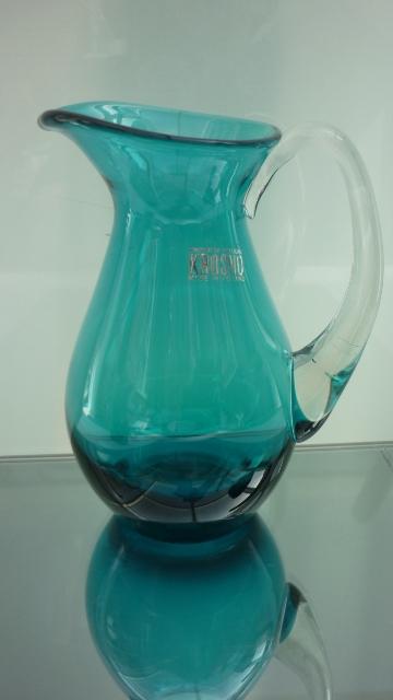 Stylish Krosno Kingfisher blue glass jug.