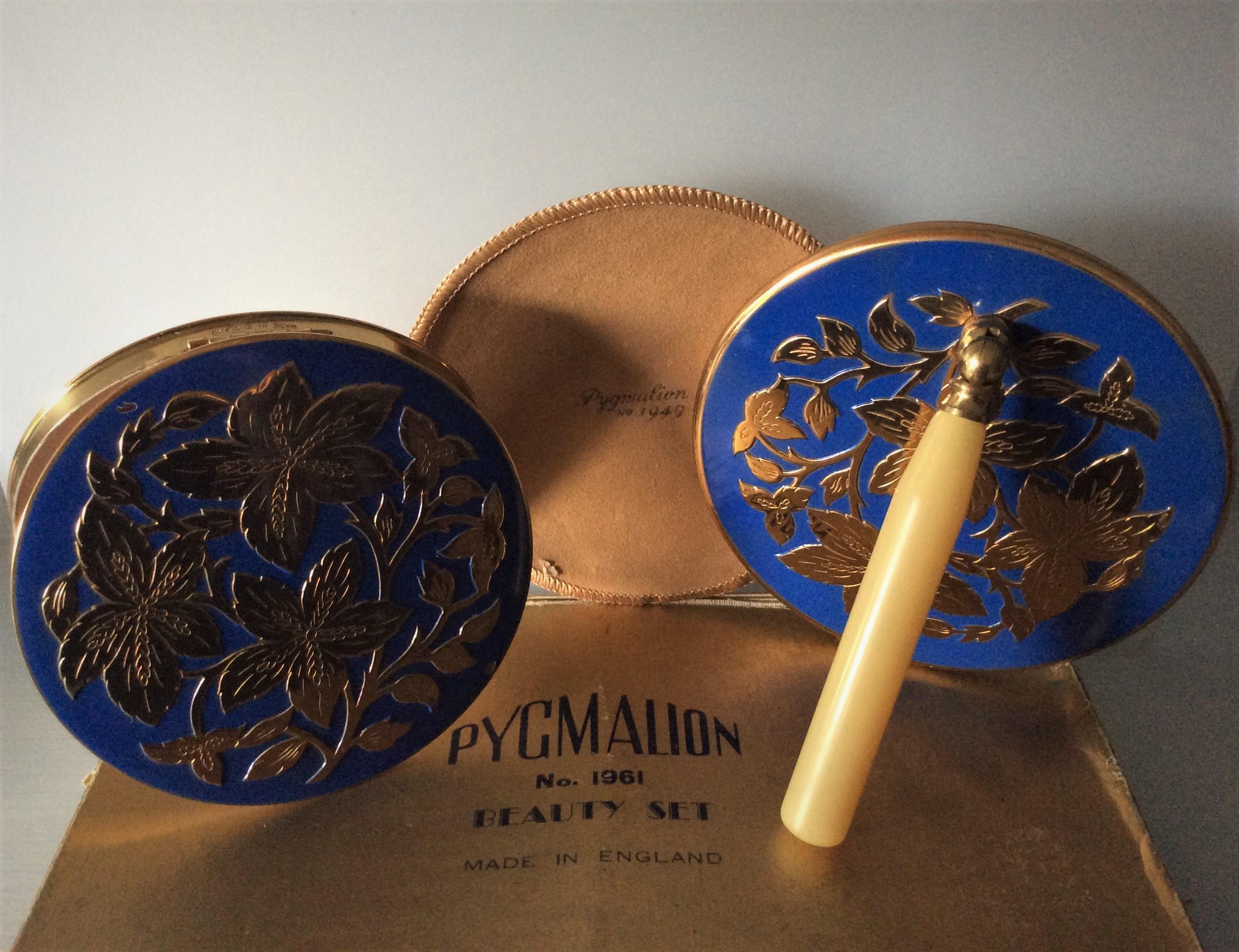 Very Rare Vintage PYGMALION Gold Tone and Enamel Vanity Beauty Set including Original Box