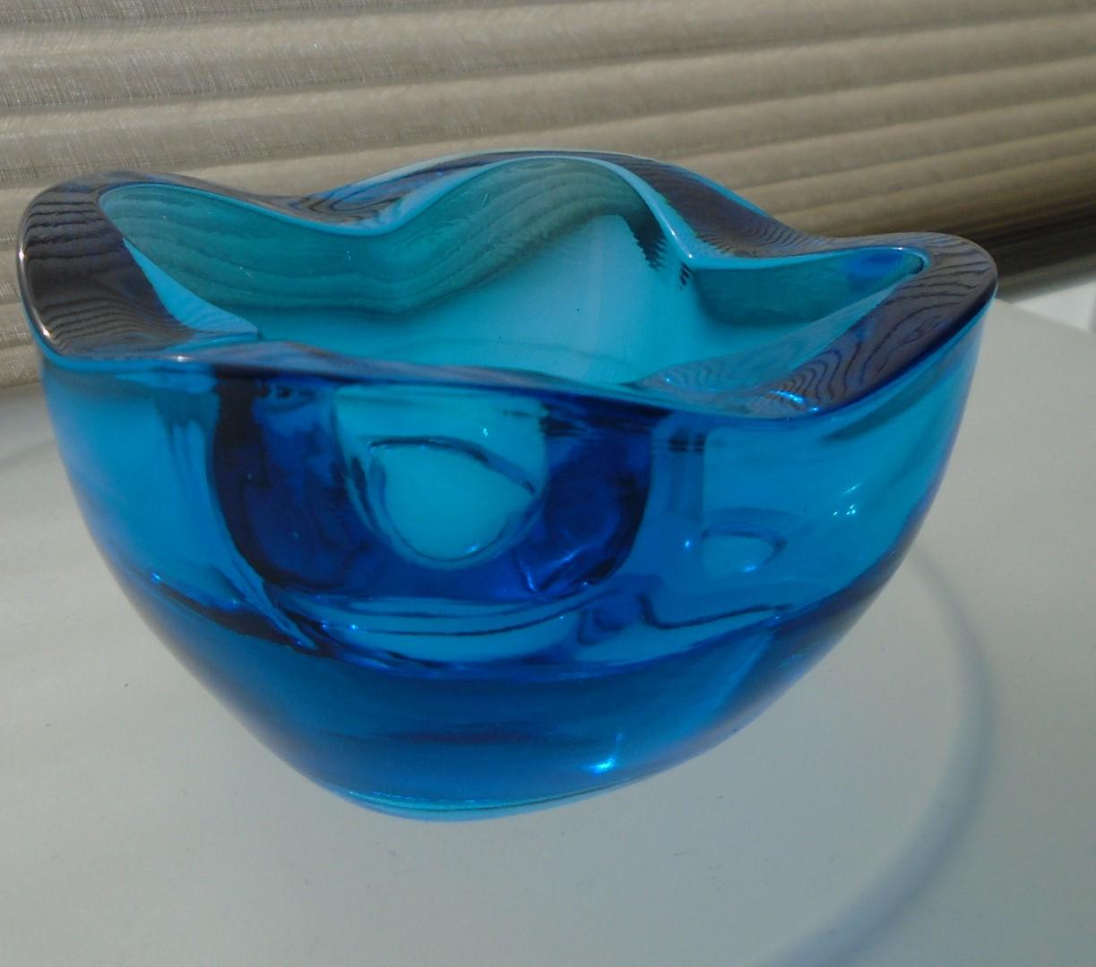 vintage 60s/70s Sklo Union Blue Glass Bowl by Rudolf Jurnikl. Pattern number 1145