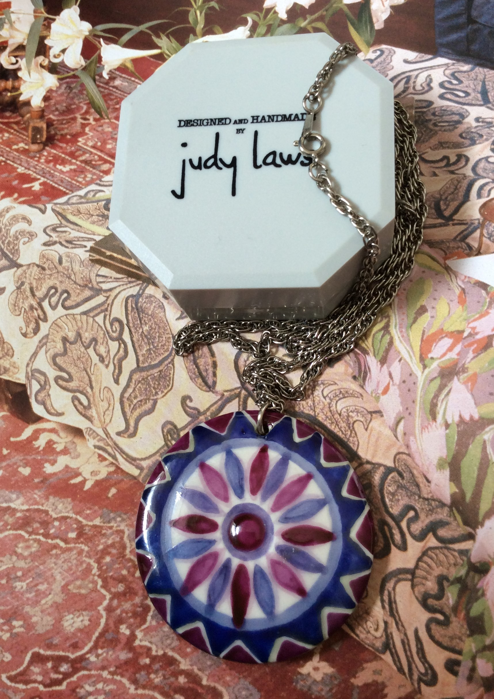 Retro 60/70s Judy Laws Handmade Ceramic and Leather Pendant and Chain