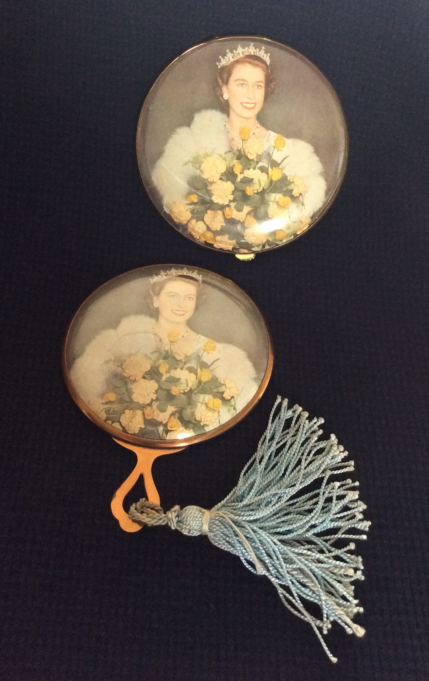 Rare Vintage Queen Elizabeth 11 Coronation Brass Powder Compact with Matching Handbag Mirror