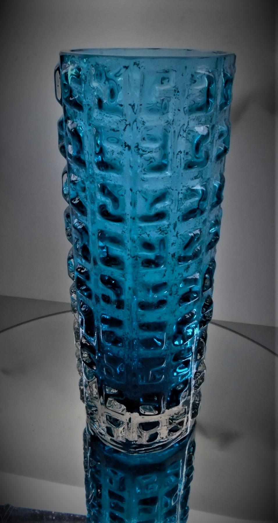 Vintage Geoffrey Baxter 70s WHITEFRIARS GLASS AZTEC Pressed Glass Vase in Kingfisher Pattern No 9816