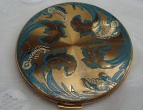 Vintage Vanity Fair Gold Tone with Pretty Blue/Cream Detail Powder Compact