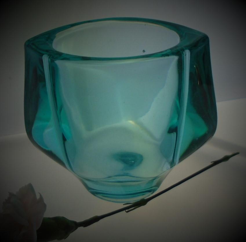 Lovely Vintage Aqua Frantisek Vizner pressed glass vase for Czech maker Heřmanova Hut.