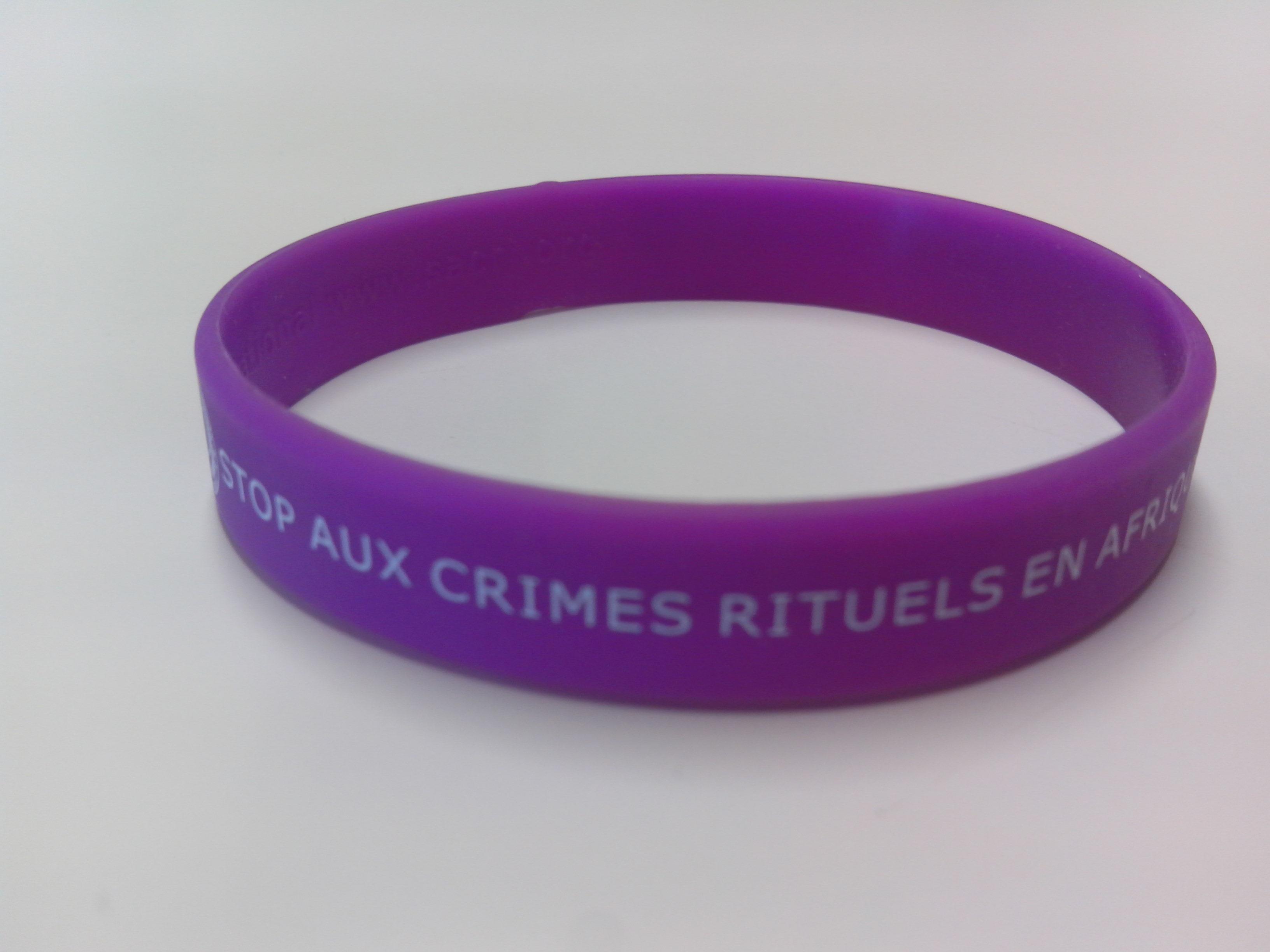 Bracelet silicone STOP AUX CRIMES RITUELS EN AFRIQUE