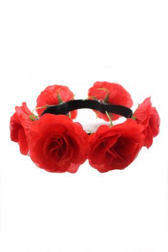 Ghirlanda per capelli Phaze con fiori rossi