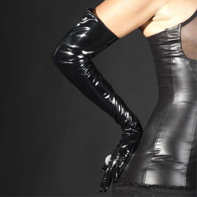 Phaze guanti lunghi in pvc nero lucido