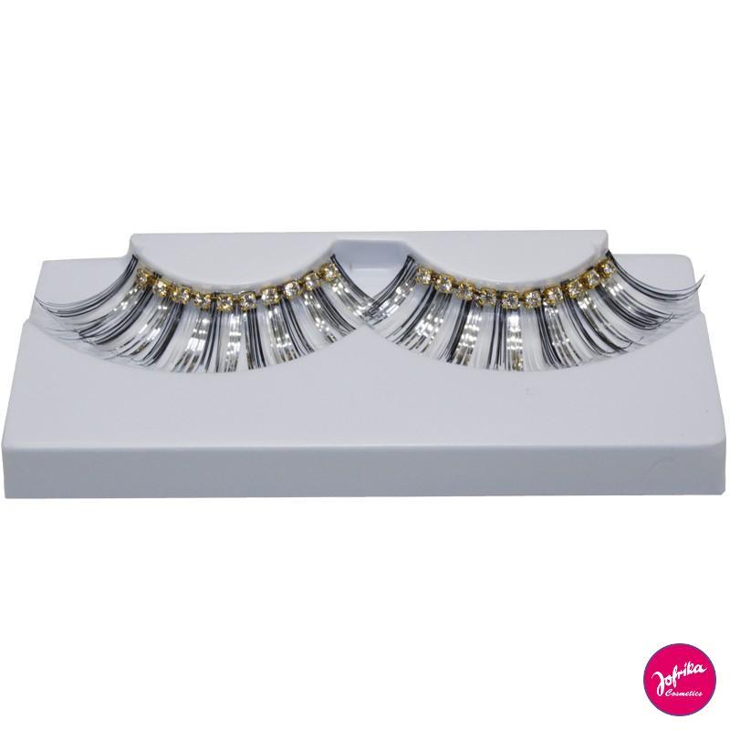 Jofrika ciglia finte oro-argento con brillantini
