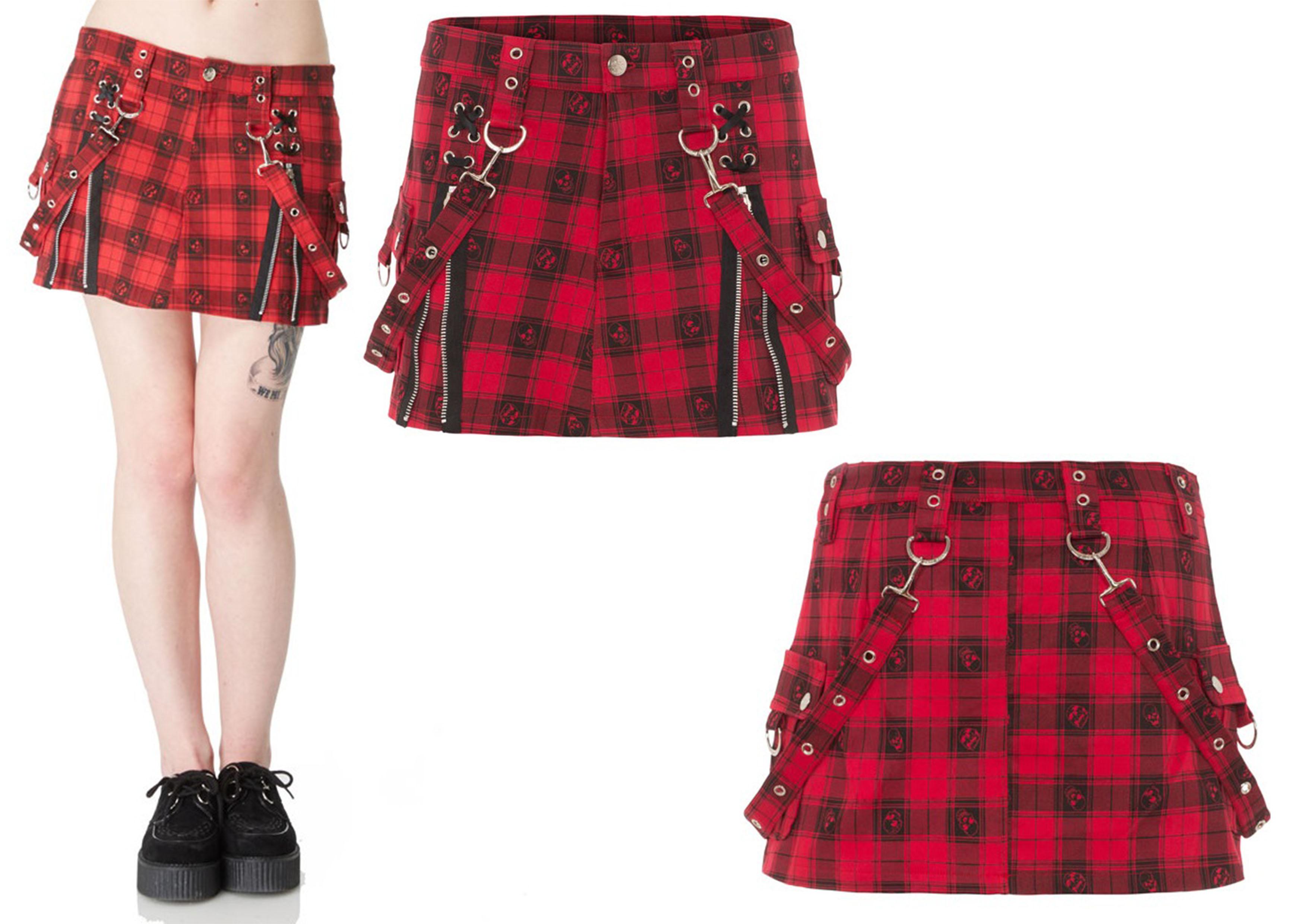 Jawbreaker Red Tartan Skull Skirt  (55 EUR)