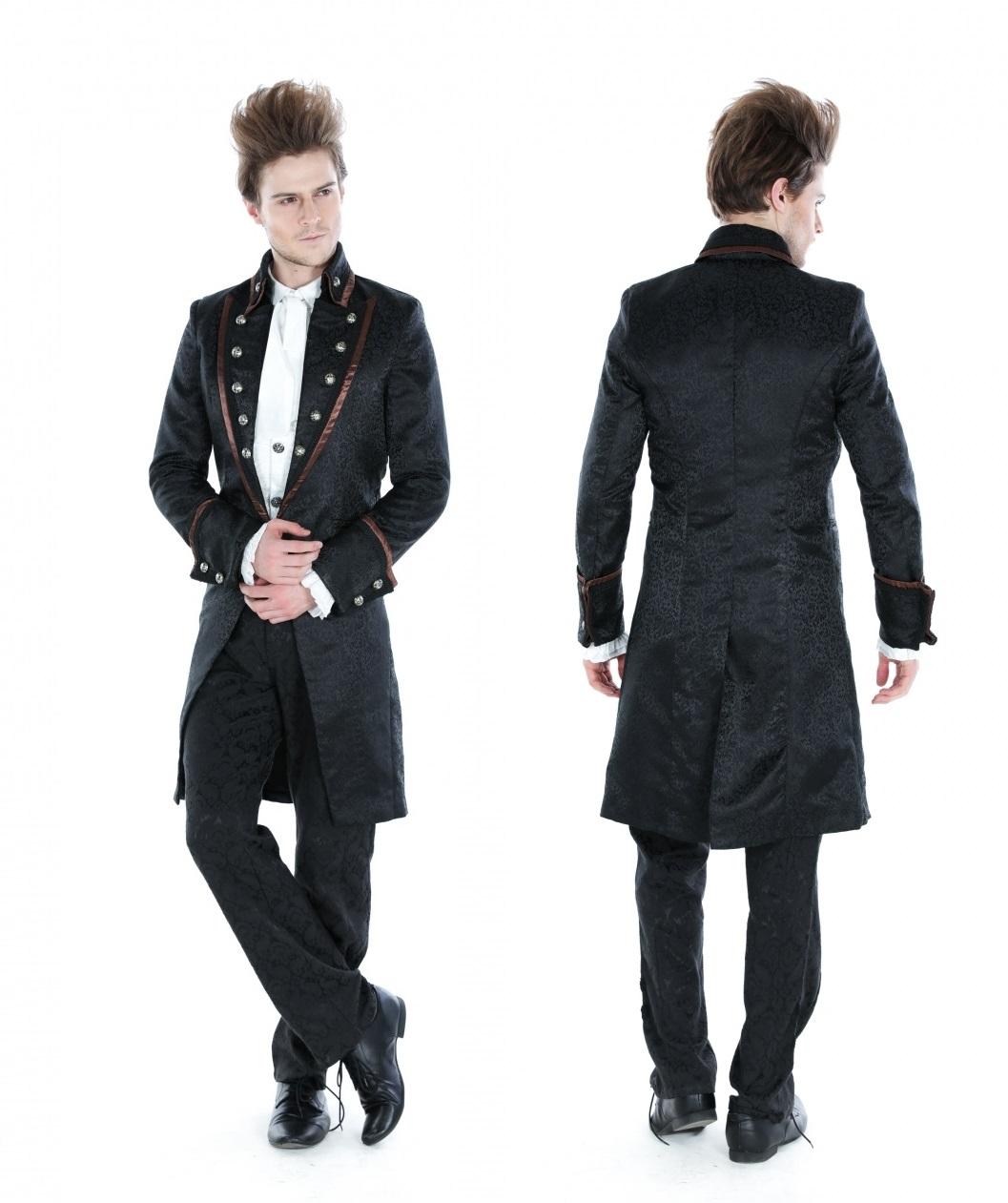 Pentagramme Black Brocade Long Jacket