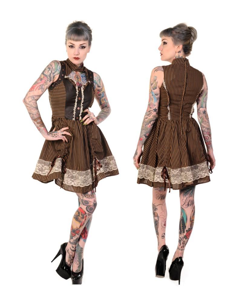 Banned Striped Steampunk Dress