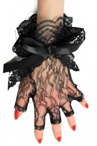 Phaze guanti in pizzo con fiocco nero