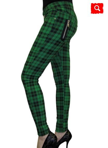 Banned pantalone skinny scozzese verde
