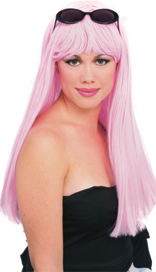 Parrucca Lunga Rosa Baby con Frangetta Manga Cosplay