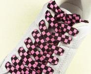 Lacci per scarpe scacchiera rosa/nero