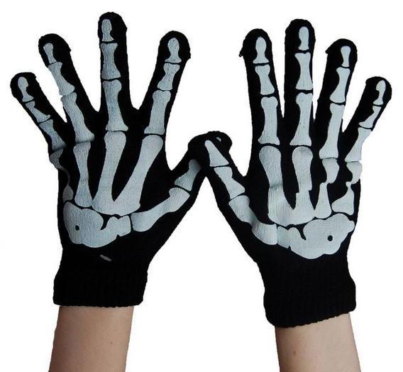 Poizen Industries Guanti scheletro nero/bianco
