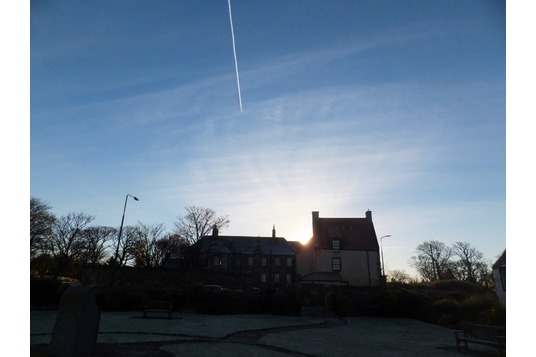 Cockenzie House and vapour trail